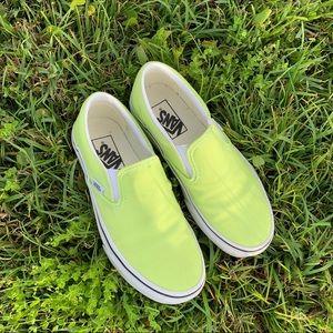 neon green slip-on vans
